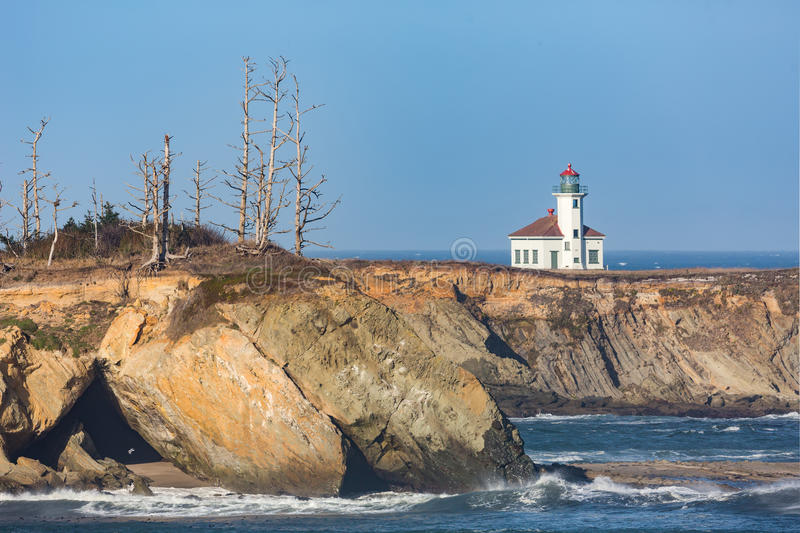 Cape Arago Lighthouse. From South Sunset Beach Overlook, Oregon royalty free stock photos