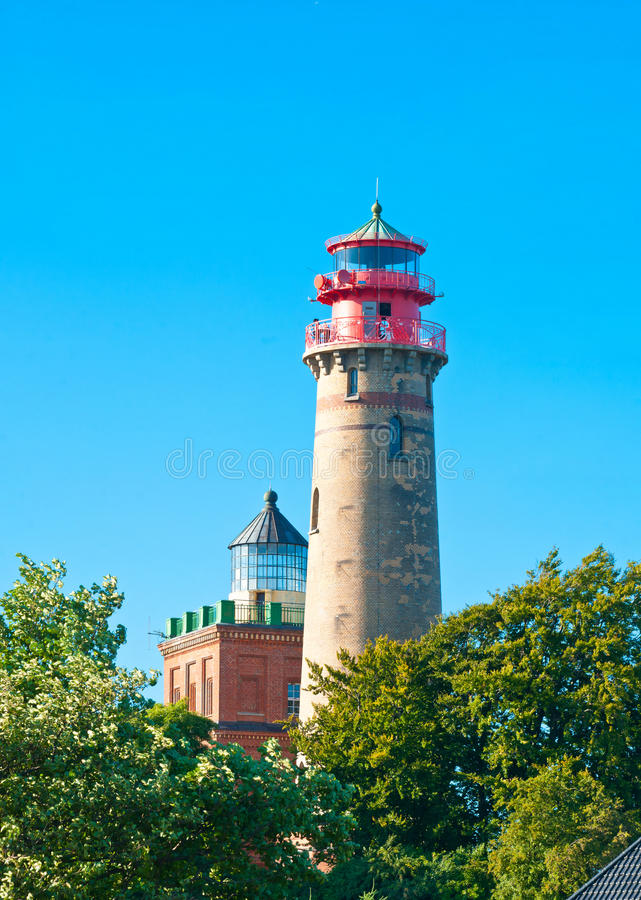 Cape Arkona Lighthouse. The New Cape Arkona Lighthouse, with the Old one in a background, near Putgarten in Rugen, Germany stock photos