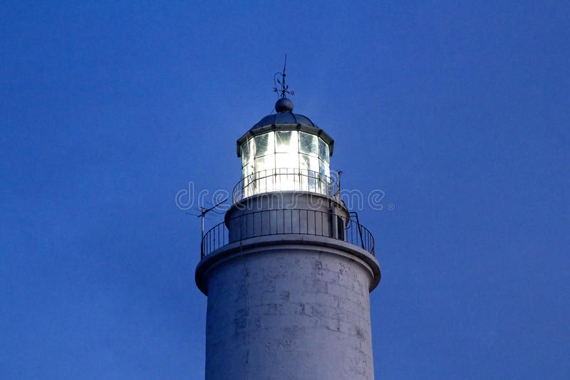 Cape barbaria lighthouse sunset lighting. In Mediterranean Formentera island stock photography