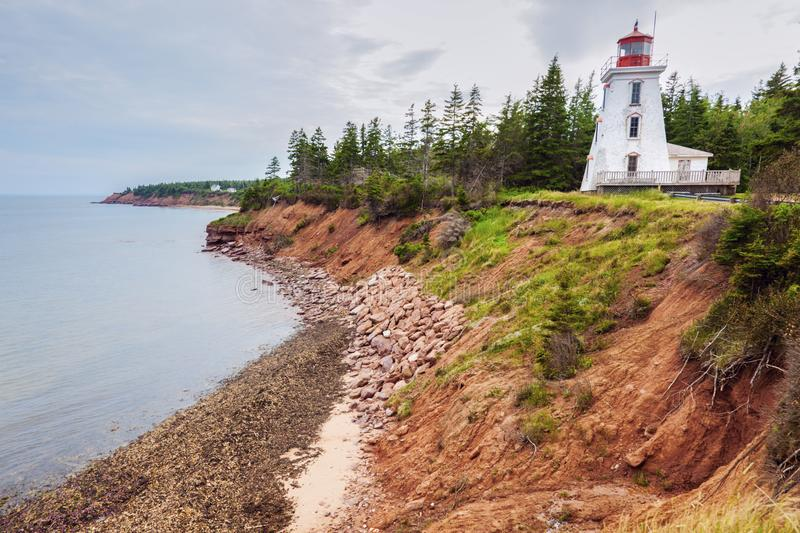 Cape Bear Lighthouse on Prince Edward Island. Prince Edward Island, Canada stock photography