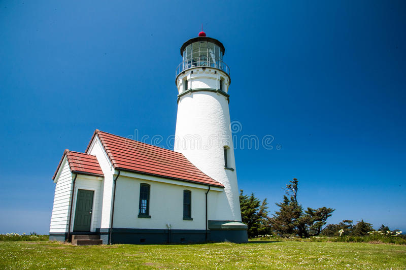 Cape Blanco Lighthouse. Above the pacific ocean in Oregon stock images