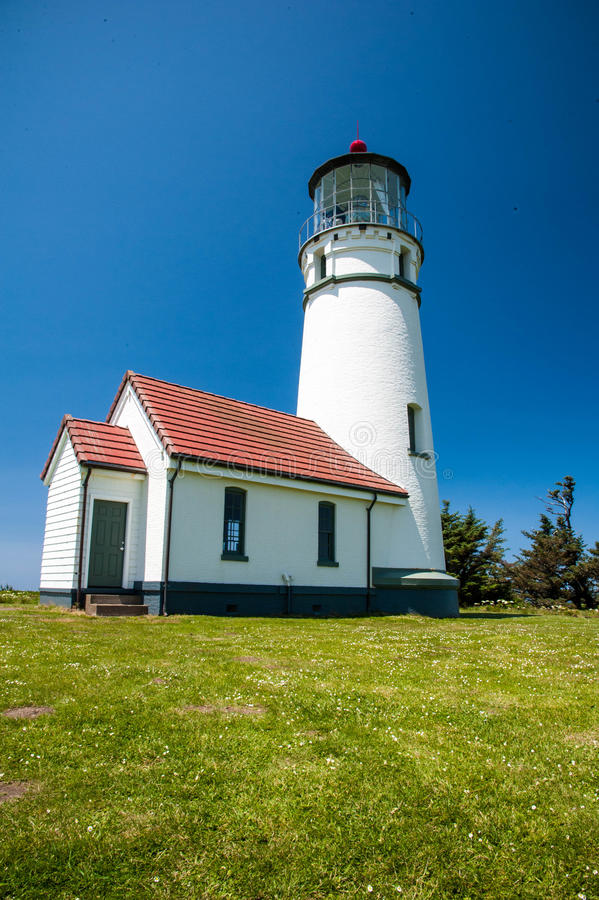 Cape Blanco Lighthouse. Above the pacific ocean in Oregon royalty free stock photo