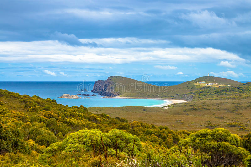 Cape Bruny Lighthouse. Cape Bruny Historic Lighthouse is located within the South Bruny Island National Park, Tasmania, Australia. Bruny Island is an island royalty free stock images
