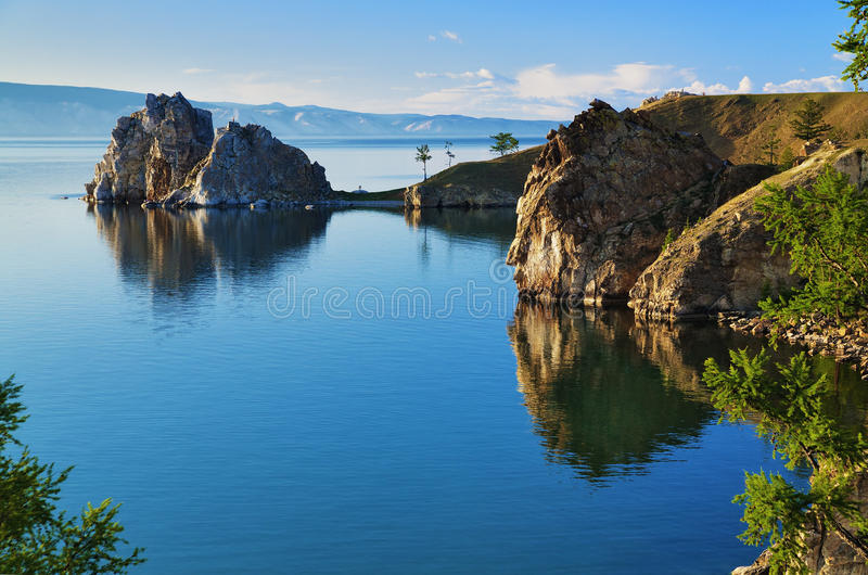 Cape Burhan and Shaman Rock at Baikal lake royalty free stock photo