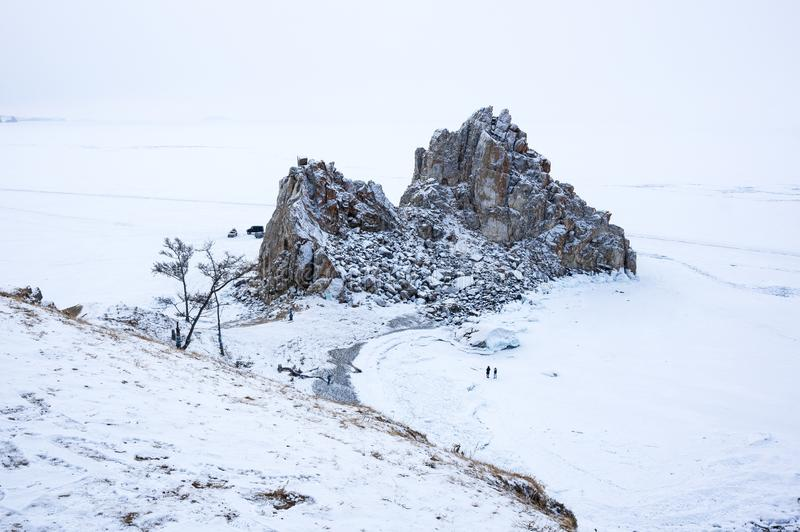 Cape Burkhan Shaman Rock on Olkhon Island at Baikal Lake stock images