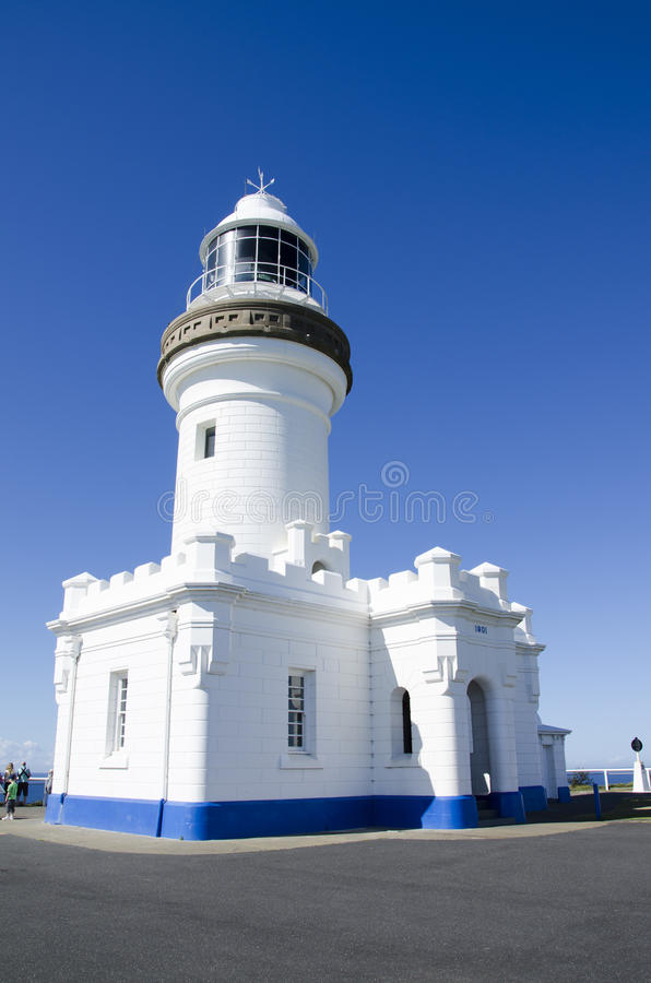 Cape Byron Lighthouse at Byron Bay Australia. Low angle of the Cape Byron lighthouse at Byron Bay in New South Wales Australia. Iconic landmark of a popular royalty free stock photos