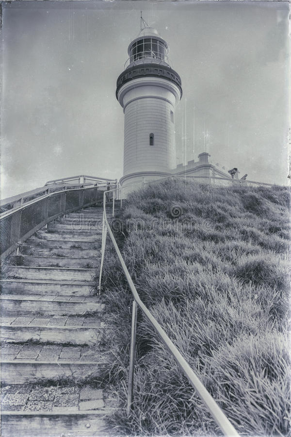 Cape Byron Lighthouse. In NSW, Australia with added scratches, dust spots and grain to create an aged effect royalty free stock photos