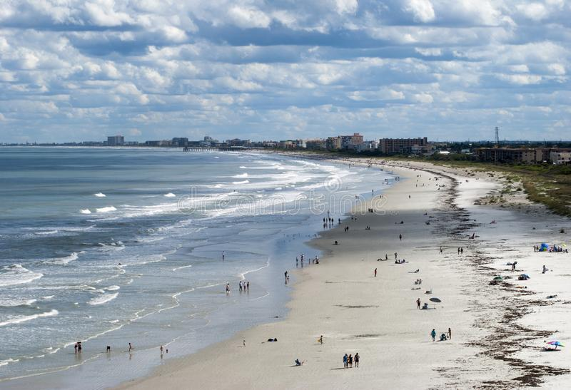 Cape Canaveral Beach. The aerial view of Cape Canaveral resort town beach in late afternoon Florida stock image