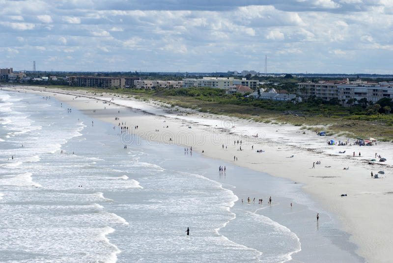 Cape Canaveral Beach. The view of Cape Canaveral resort town beach Florida stock photography