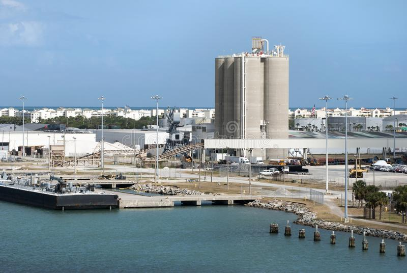 Cape Canaveral City Port. The industrial view of Port Canaveral with Cape Canaveral city in a background Florida stock photos