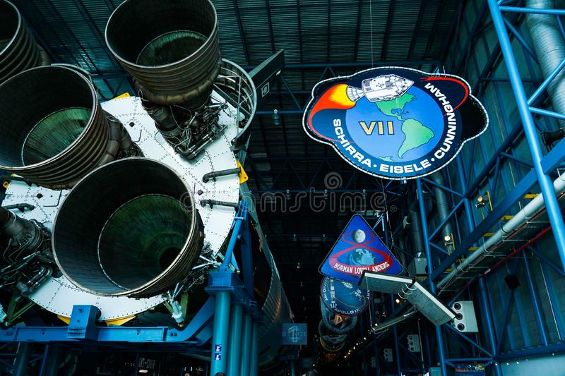 Saturn V Rocket engines and mission patches stock image