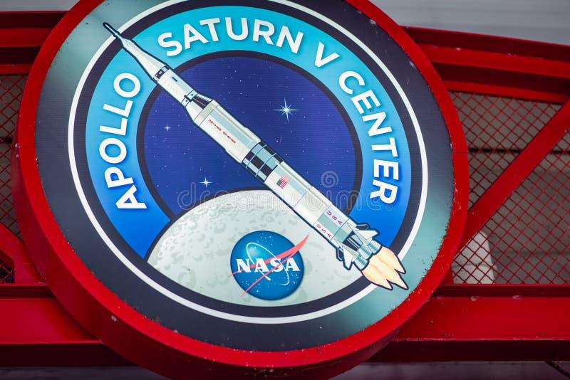 Cape Canaveral, Florida - 13 agosto 2018: Segno per Apollo Center alla NASA Kennedy Space Center immagini stock libere da diritti