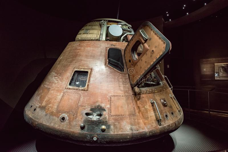 Cape Canaveral, Florida - August 13, 2018: Apollo 14 Capsuleat NASA Kennedy Space Center. Cape Canaveral, Florida - August 13, 2018: View of Apollo 14 Capsuleat royalty free stock images