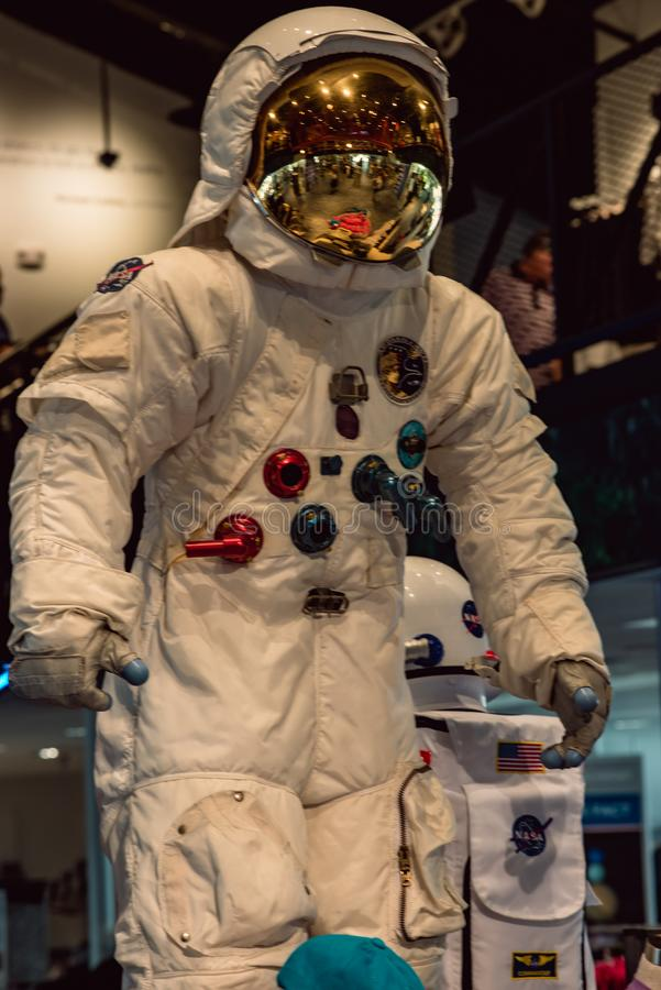 Cape Canaveral, Florida - August 13, 2018: Astronaut Suit at NASA Kennedy Space Center. Cape Canaveral, Florida - August 13, 2018: View of Astronaut Suit at NASA stock images