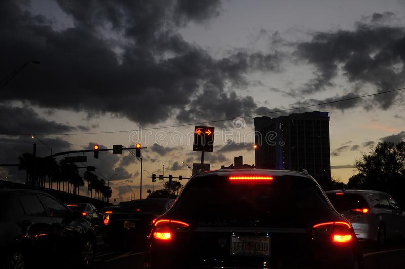 FLORIDA TRAFFIC DURING SUNSETS. CAPE CANAVERAL / FLORIDA / USA - 06 December 2017.-Florida jam traffic during sunsets . Photo.Francis Dean/Dean Pictures stock photos