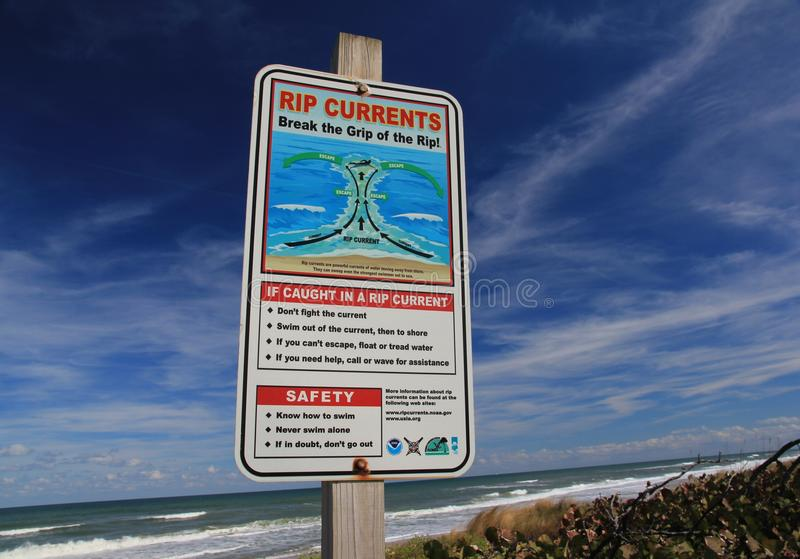 Cape Canaveral Rip Current Sign royalty free stock photo