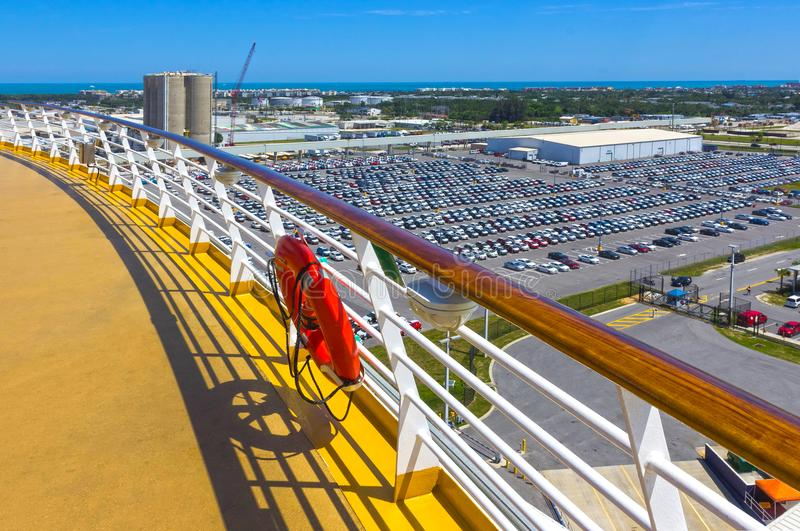 Cape Canaveral, USA. The arial view of port Canaveral from cruise ship. Docked in Port Canaveral, Brevard County, Florida royalty free stock photos