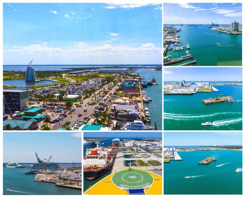 Cape Canaveral USA Den arial sikten av port Canaveral från kryssningskeppet fotografering för bildbyråer