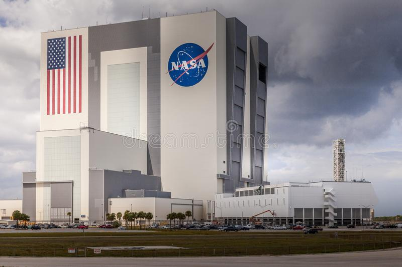 CAPE CANAVERAL, USA - MAR. 28, 2012: Enormous Vehicle Assembly Building on Cape Canaveral NASA base, Florida, USA royalty free stock photography
