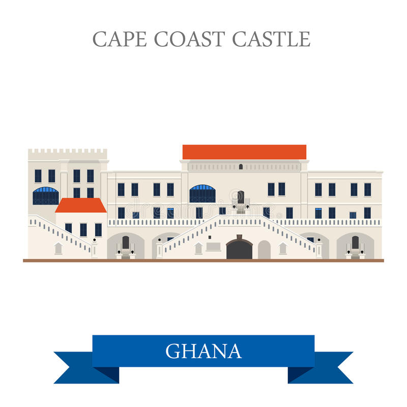 Cape Coast Castle in Ghana. Flat cartoon style historic sight showplace. Attraction web site vector illustration. World countries cities vacation travel stock illustration