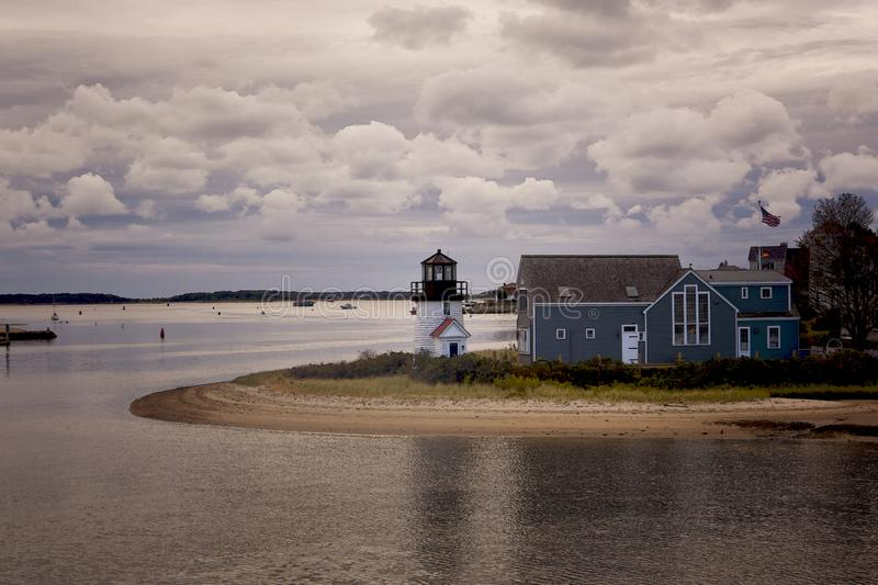 Cape Cod Highland Lighthouse in the evening light. Artistic impression of Cape Cod Lighthouse in the evening with storm clouds rolling in royalty free stock photography