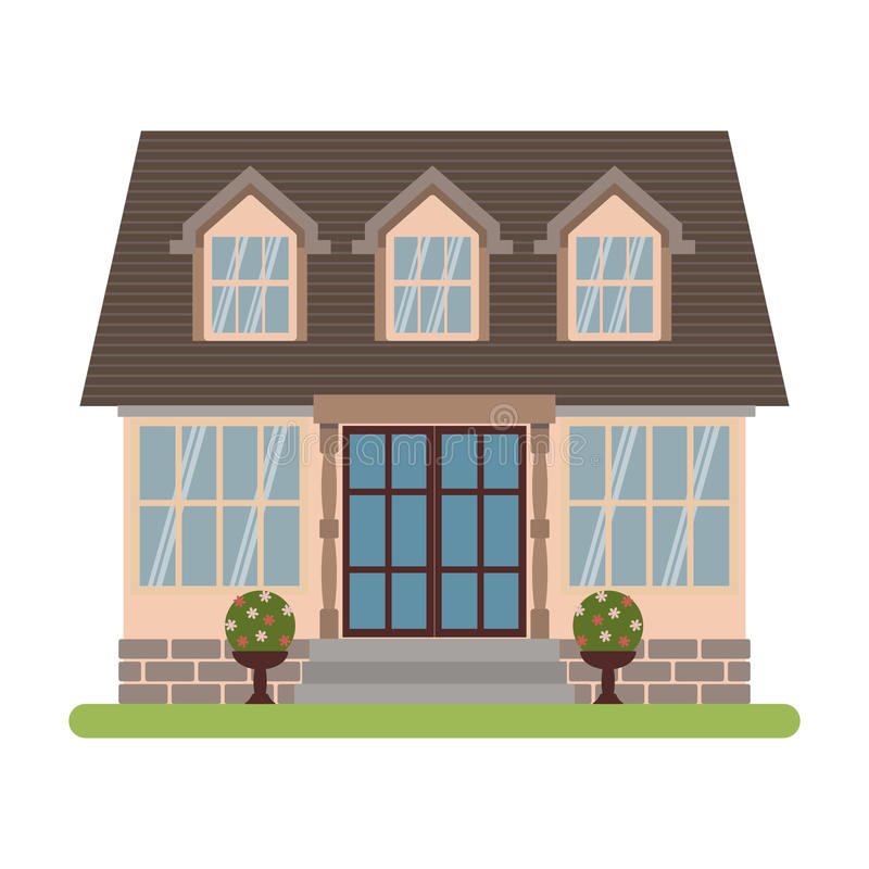 Cape cod house vector. Modern country house in Cape cod style. Vector illustration of a tourist house for rent, sale, booking and living, isolated on white vector illustration