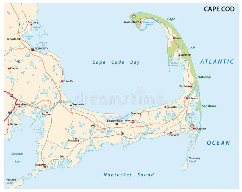 Cape cod map. Detailed road map of the island of Cape Cod stock illustration