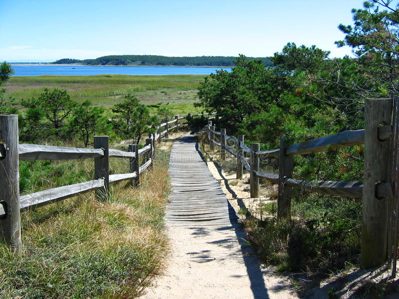 Cape Cod plaży Boardwalk 02 obraz royalty free