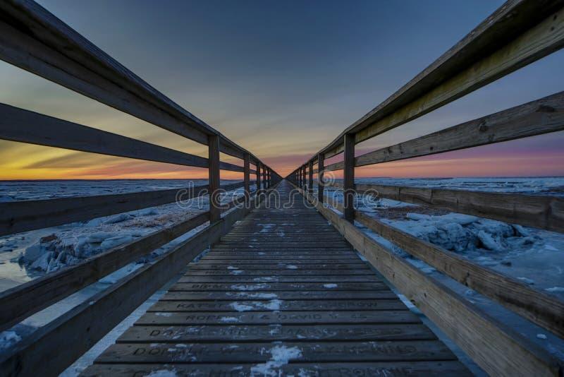 Cape Cod-Promenade bei Sonnenuntergang im Winter stockfoto