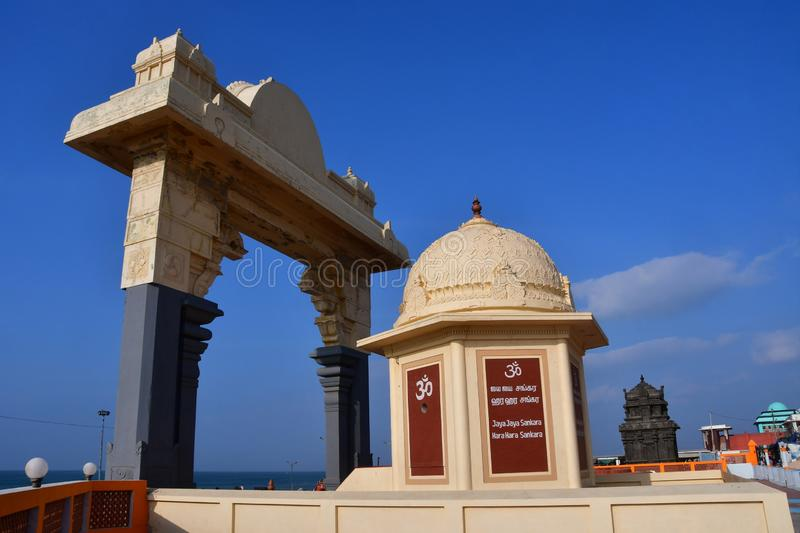 Cape Comorin Kanyakumari, India, West Bengal Tamil Nadu, March, 15, 2019. Arch in front of the ancient Hindu temple of Shripad stock photography