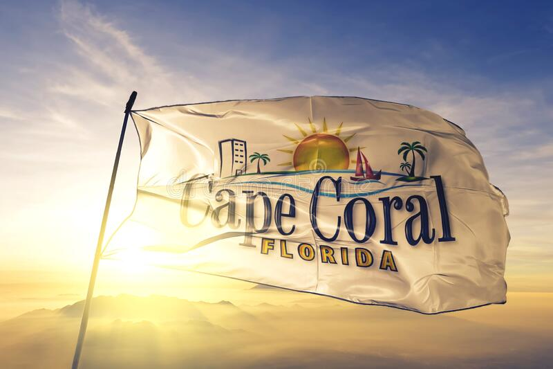 Cape Coral of Florida of United States flag waving on the top. Cape Coral of Florida of United States flag waving royalty free stock image