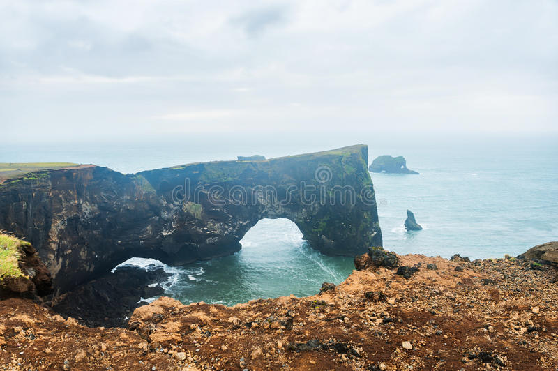 Cape Dyrholaey in southern Iceland. Cape Dyrholaey on the Atlantic coast, southern Iceland royalty free stock images