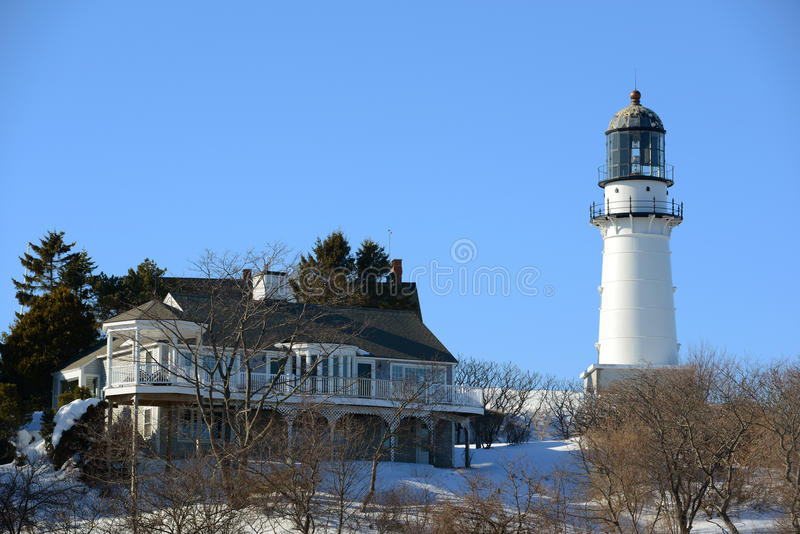 Cape Elizabeth Lighthouse, Maine. Cape Elizabeth Lighthouse, also known as Two Lights, located in Town of Cape Elizabeth, Maine, USA stock images
