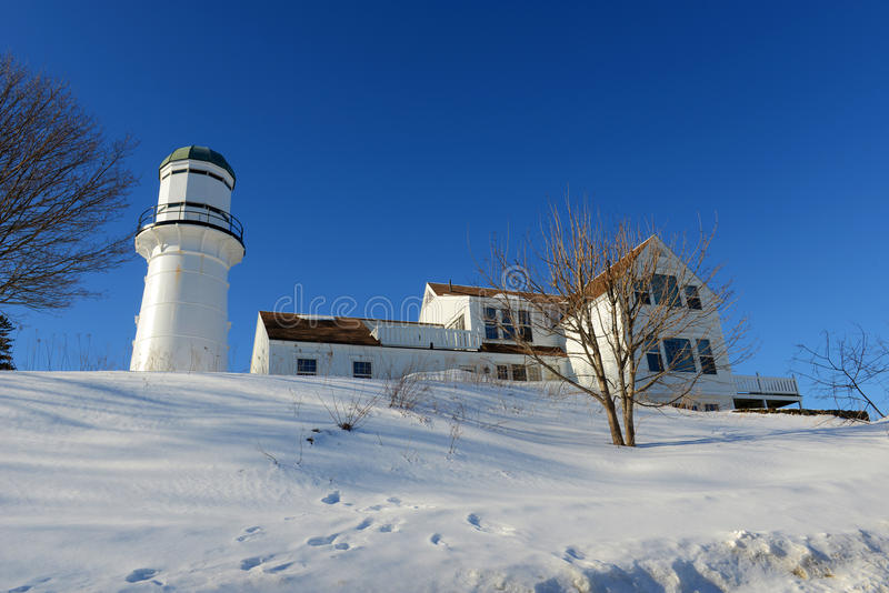 Cape Elizabeth Lighthouse, Maine. Western Tower of Cape Elizabeth Lighthouses, also known as Two Lights, in winter in Town of Cape Elizabeth, Maine, USA. This royalty free stock photography