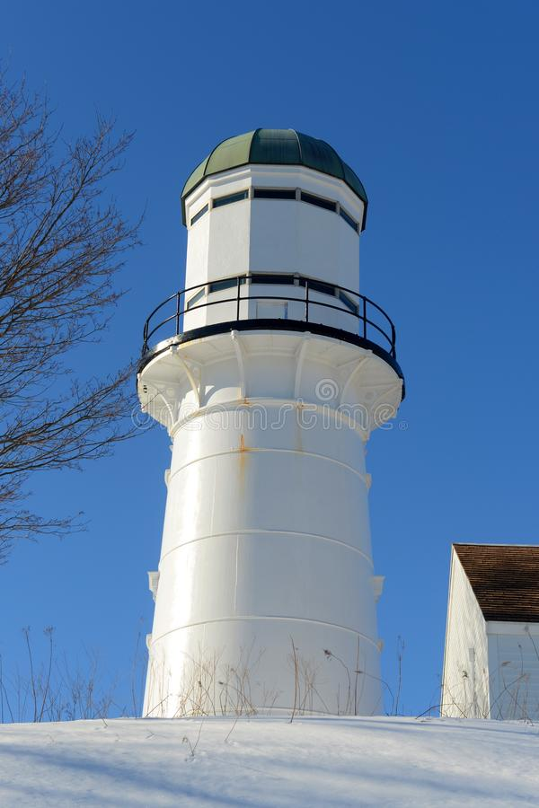 Cape Elizabeth Lighthouse, Maine. Western Tower of Cape Elizabeth Lighthouses, also known as Two Lights, in winter in Town of Cape Elizabeth, Maine, USA. This stock photo