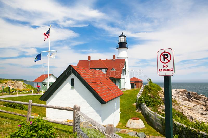 Portland Head Lighthouse at Fort Williams Park in Cape Elizabeth. Cape Elizabeth, Maine, USA: July 6, 2016: Portland Head Light lighthouse in Cape Elizabeth royalty free stock photo