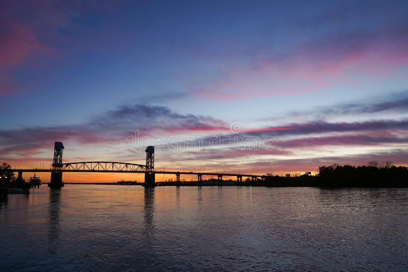 Cape Fear river bridge at sunset, Wilmington stock photo
