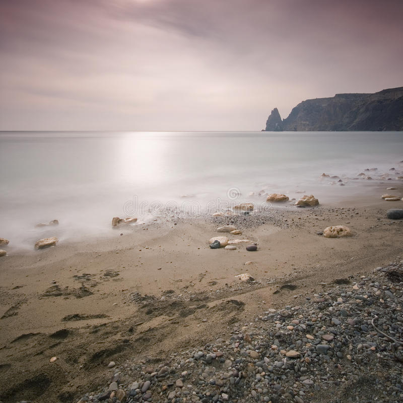 Cape Fiolent. A long exposured sunset at Fiolent Cape stock photography