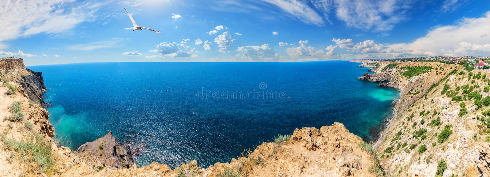 Cape Fiolent in Crimea, beautiful sea panorama.  royalty free stock photography