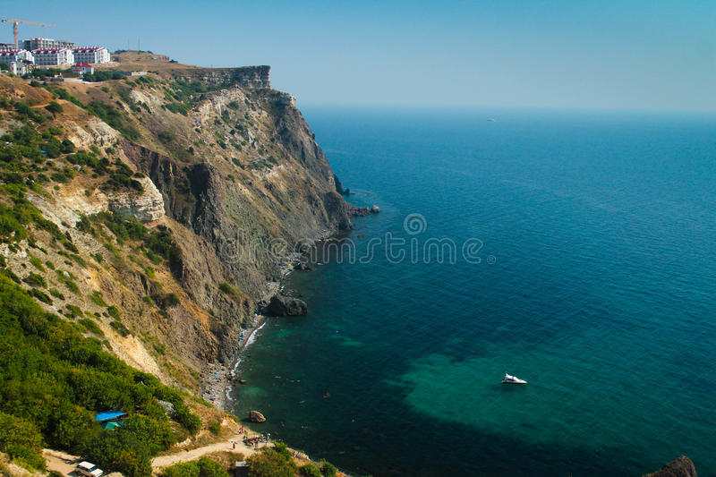 Cape Fiolent. Rocks over the Black Sea on the Cape Fiolent. Crimea, Sevastopol royalty free stock image