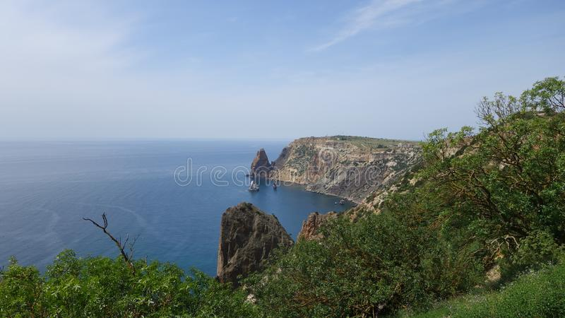 Cape Fiolent. Rocks by the sea. Crimea royalty free stock photos