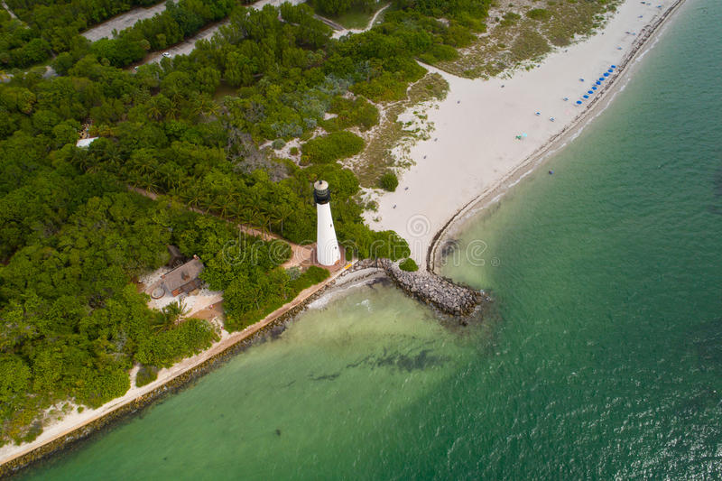 Cape Florida Key Biscayne lighthouse. Aerial image of the Cape Florida Key Biscayne lighthouse stock image