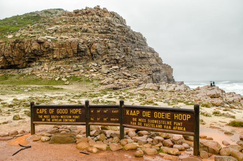 Cape of good hope wooden signal. Most south and western point of african continent. Cape Peninsula, South Africa royalty free stock image