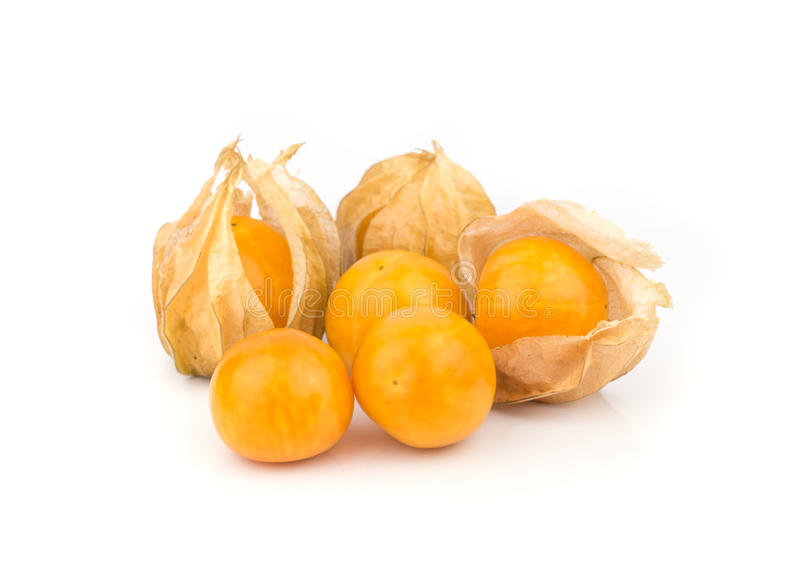 Cape Gooseberry. The cape gooseberry is a relative of the tomatillo, also known as poha in Hawaii has a tart tomato flavor and is used for making jam royalty free stock photo