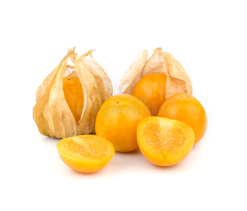 Cape Gooseberry. The cape gooseberry is a relative of the tomatillo, also known as poha in Hawaii has a tart tomato flavor and is used for making jam stock image