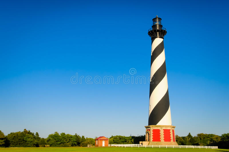 Cape Hatteras Lighthouse. With blue sky royalty free stock images