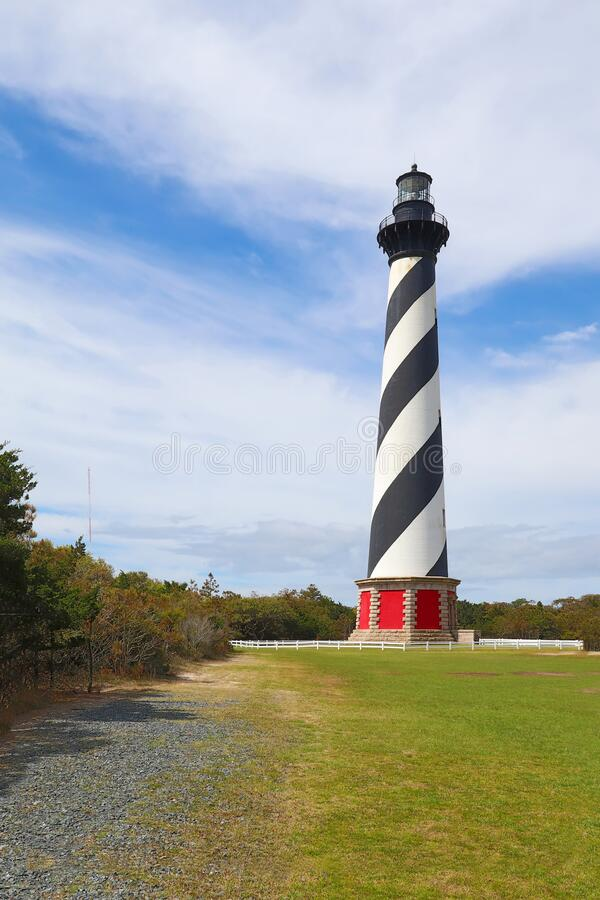 The Cape Hatteras Lighthouse near Buxton, North Carolina vertical. The Cape Hatteras lighthouse tower near the town of Buxton on the Outer Banks of North stock photography