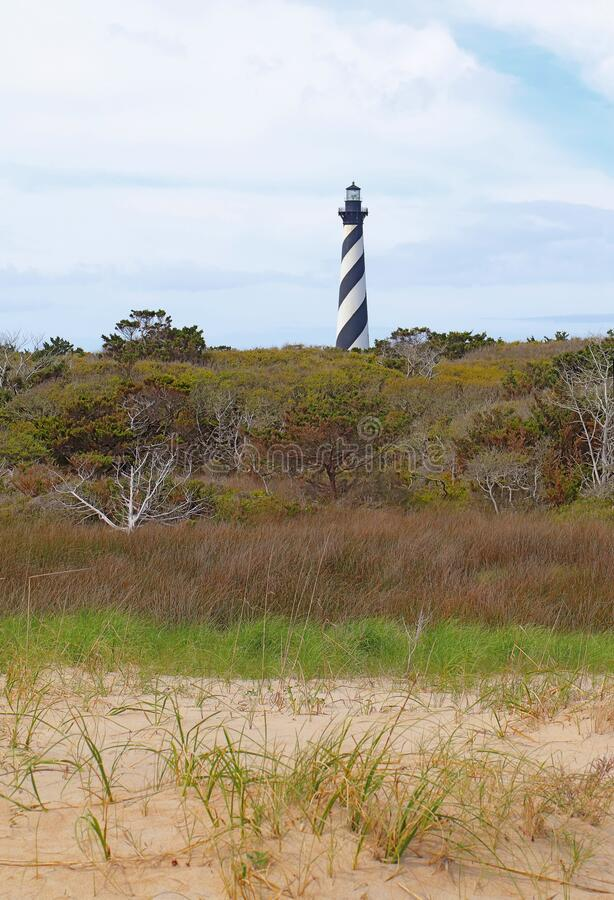 The Cape Hatteras Lighthouse near Buxton, North Carolina vertical. The Cape Hatteras lighthouse tower near the town of Buxton on the Outer Banks of North royalty free stock photography