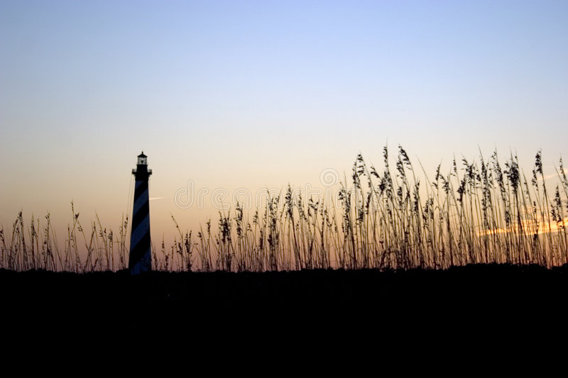 Cape Hatteras Lighthouse at sunset royalty free stock photography