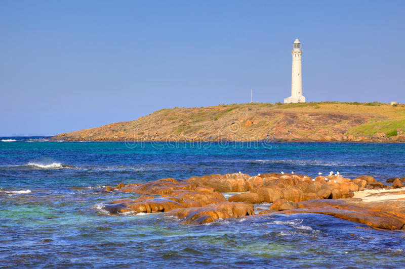 Cape Leeuwin Lighthouse. At the south-western tip of Australia, where two oceans meet stock photo